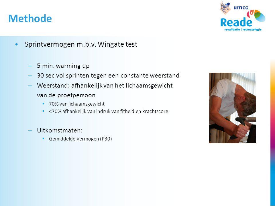 Methode •Sprintvermogen m.b.v. Wingate test – 5 min. warming up – 30 sec vol sprinten tegen een constante weerstand – Weerstand: afhankelijk van het l