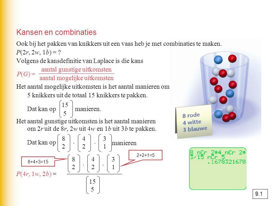 Kansen en combinaties Ook bij het pakken van knikkers uit een vaas heb je met combinaties te maken. P(2r, 2w, 1b) = ? Volgens de kansdefinitie van Lap