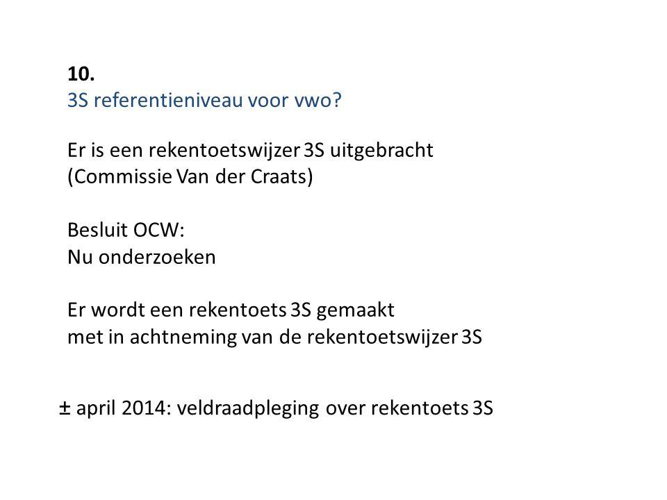 10. 3S referentieniveau voor vwo? ± april 2014: veldraadpleging over rekentoets 3S Er is een rekentoetswijzer 3S uitgebracht (Commissie Van der Craats