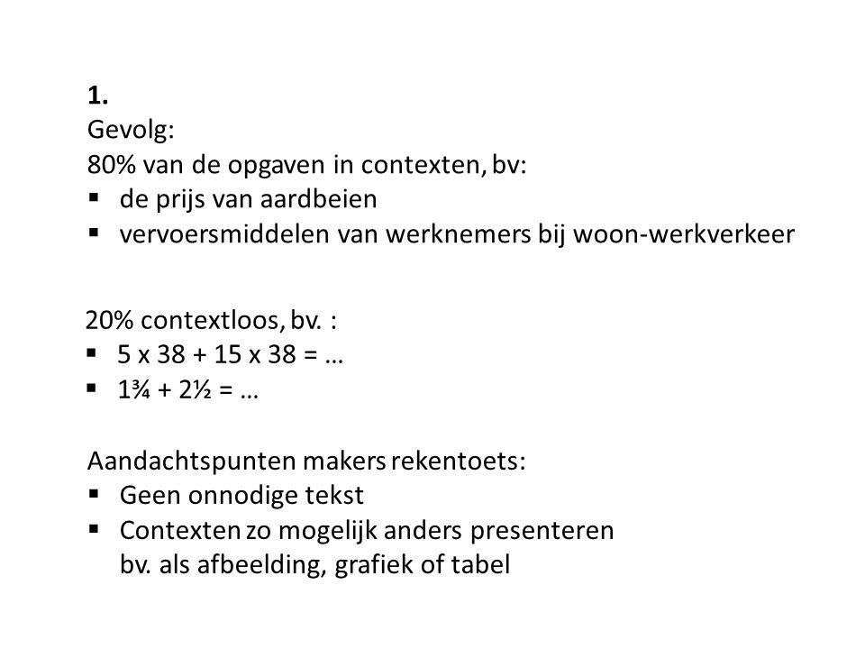 1. Gevolg: 80% van de opgaven in contexten, bv:  de prijs van aardbeien  vervoersmiddelen van werknemers bij woon-werkverkeer 20% contextloos, bv. :