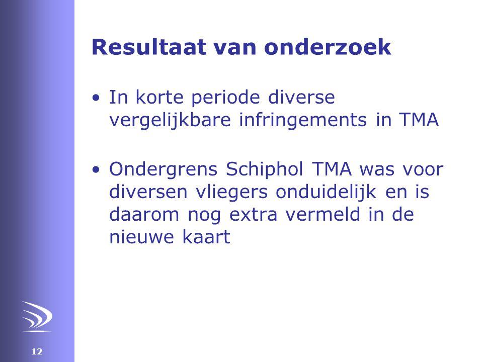 12 Resultaat van onderzoek •In korte periode diverse vergelijkbare infringements in TMA •Ondergrens Schiphol TMA was voor diversen vliegers onduidelijk en is daarom nog extra vermeld in de nieuwe kaart