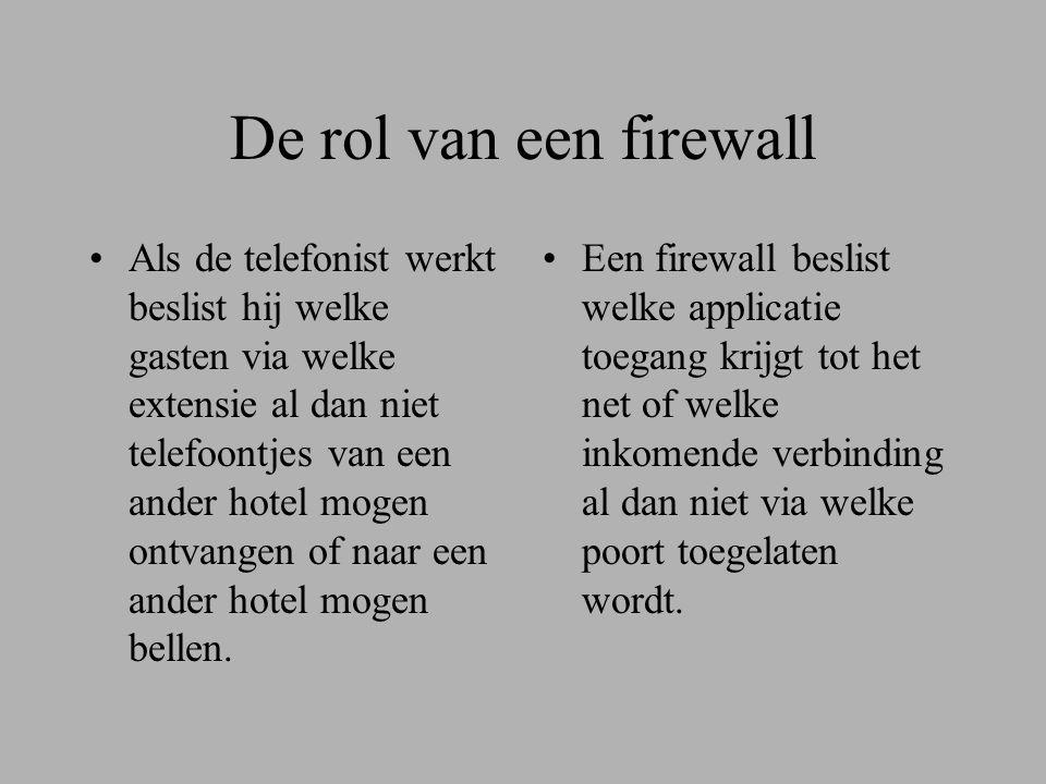 De rol van een firewall •Als de telefonist werkt beslist hij welke gasten via welke extensie al dan niet telefoontjes van een ander hotel mogen ontvangen of naar een ander hotel mogen bellen.