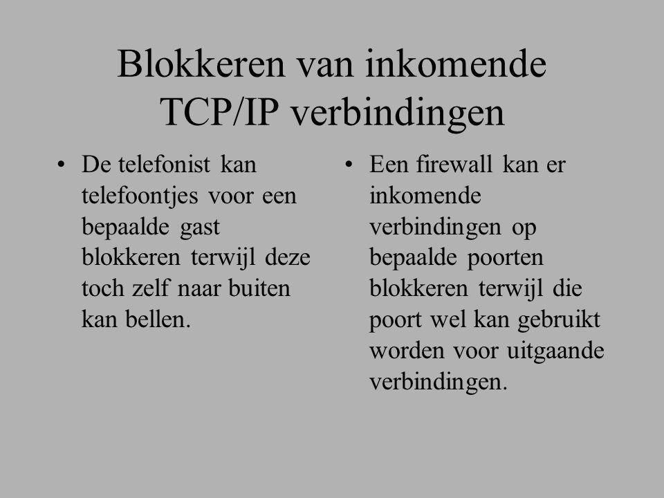 Blokkeren van inkomende TCP/IP verbindingen •De telefonist kan telefoontjes voor een bepaalde gast blokkeren terwijl deze toch zelf naar buiten kan bellen.
