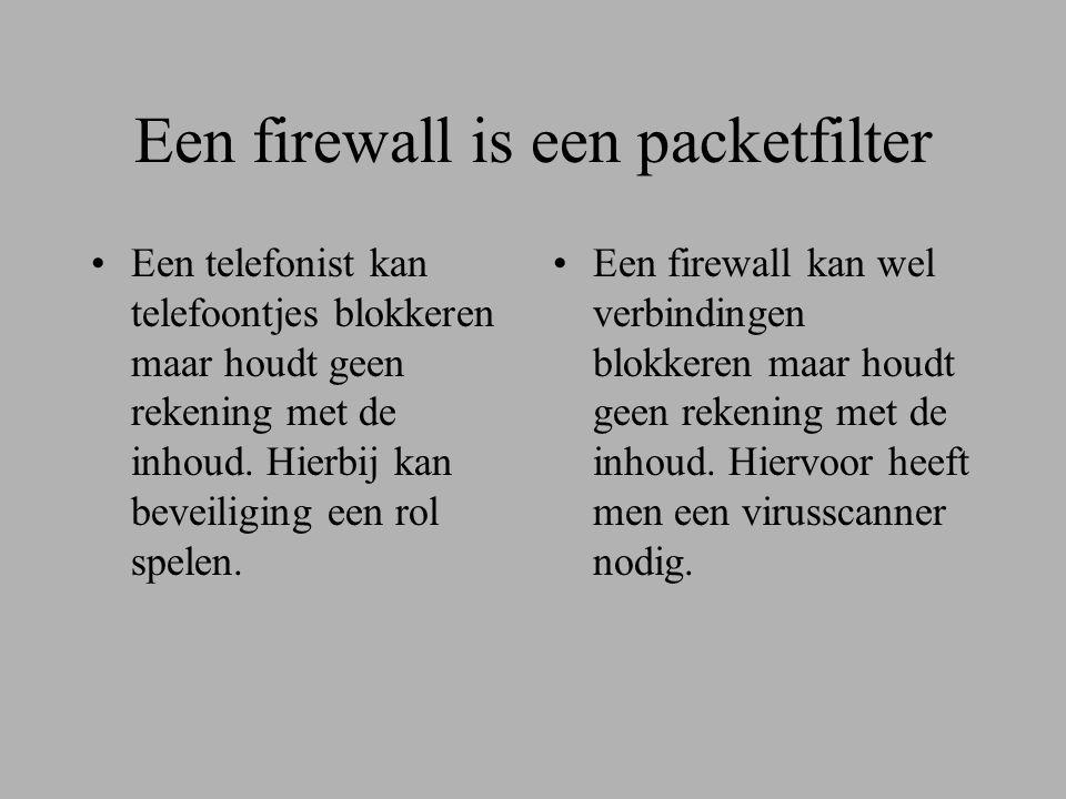 Een firewall is een packetfilter •Een telefonist kan telefoontjes blokkeren maar houdt geen rekening met de inhoud.