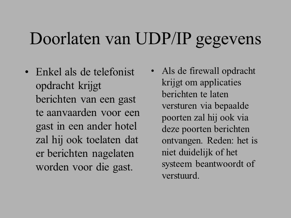 Doorlaten van UDP/IP gegevens •Enkel als de telefonist opdracht krijgt berichten van een gast te aanvaarden voor een gast in een ander hotel zal hij ook toelaten dat er berichten nagelaten worden voor die gast.