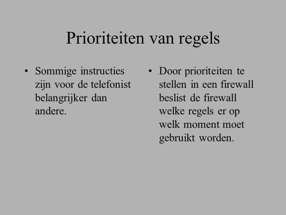 Prioriteiten van regels •Sommige instructies zijn voor de telefonist belangrijker dan andere.