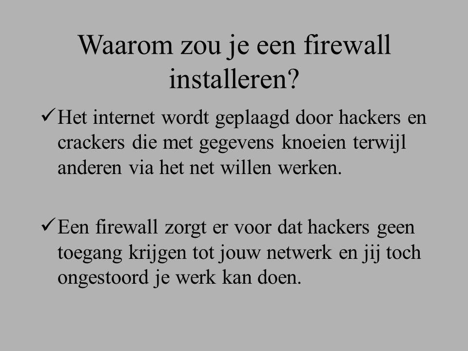 Waar kan een firewall tegen beschermen.