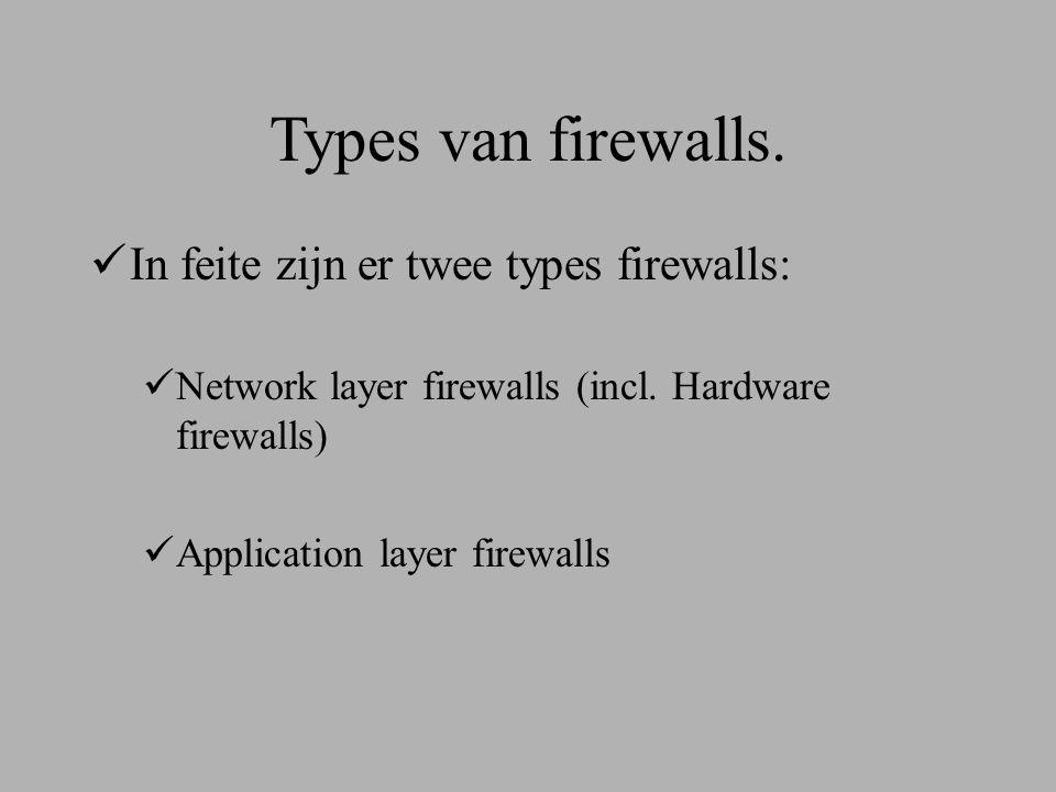 Types van firewalls. In feite zijn er twee types firewalls:  Network layer firewalls (incl.