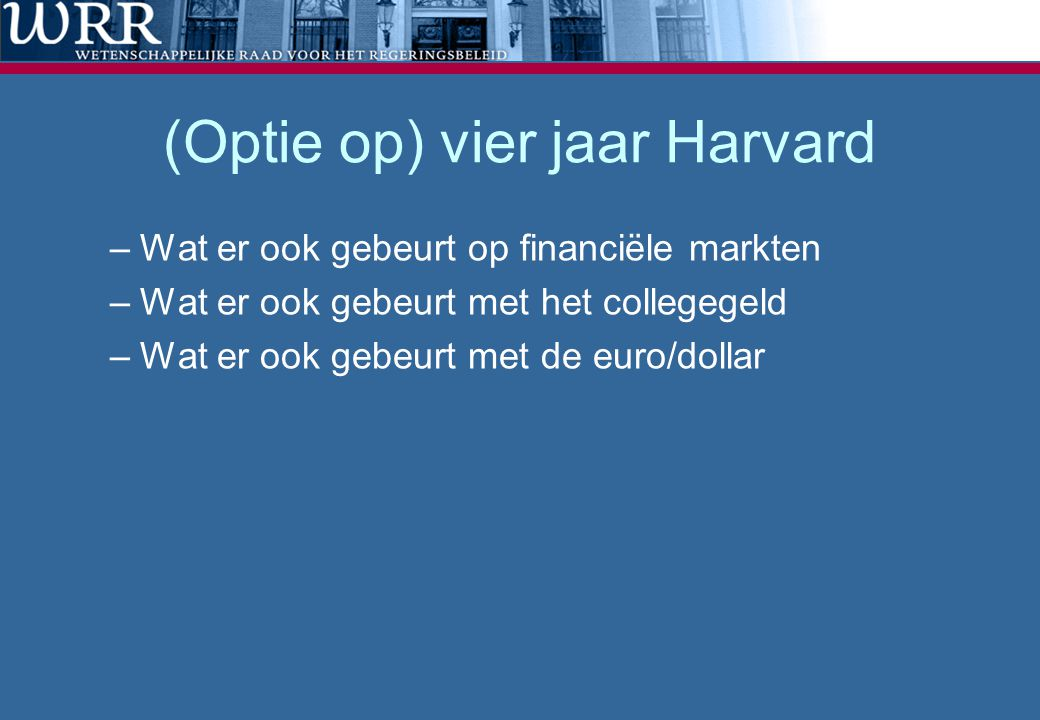 (Optie op) vier jaar Harvard –Wat er ook gebeurt op financiële markten –Wat er ook gebeurt met het collegegeld –Wat er ook gebeurt met de euro/dollar