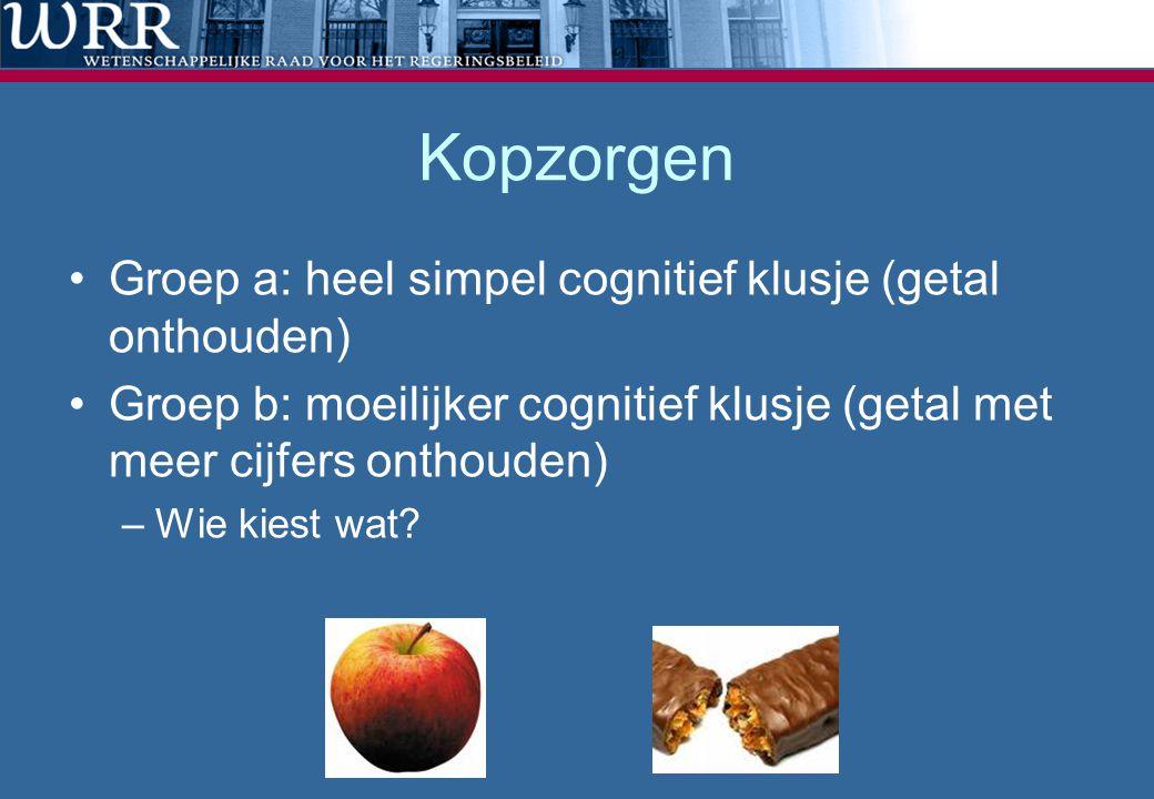 Kopzorgen •Groep a: heel simpel cognitief klusje (getal onthouden) •Groep b: moeilijker cognitief klusje (getal met meer cijfers onthouden) –Wie kiest