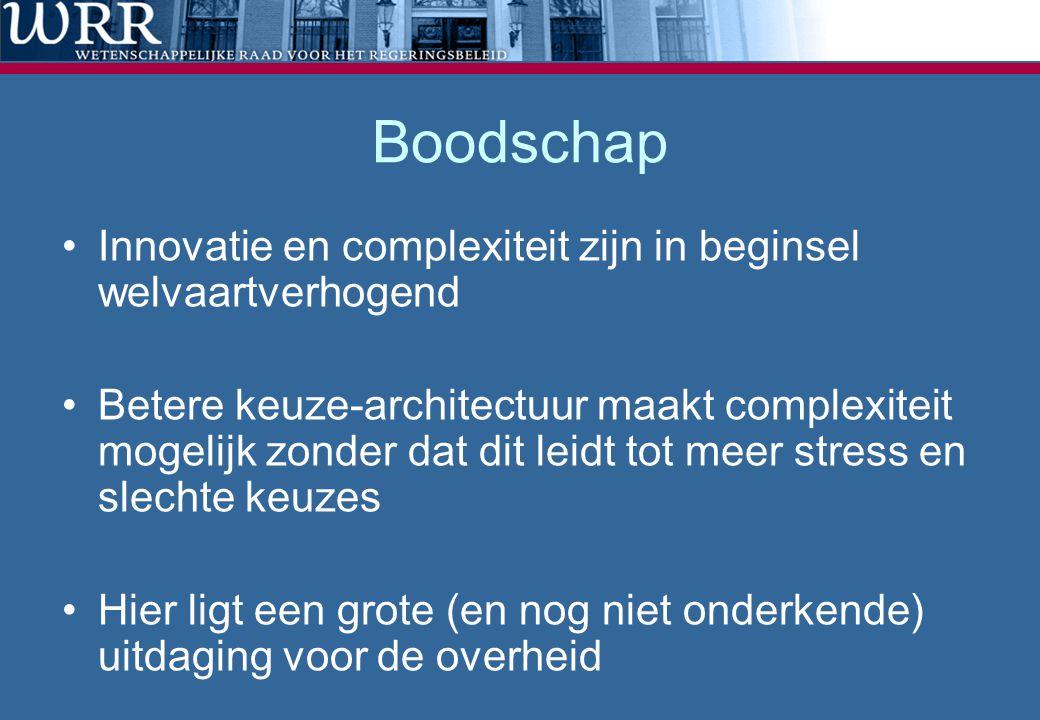 Boodschap •Innovatie en complexiteit zijn in beginsel welvaartverhogend •Betere keuze-architectuur maakt complexiteit mogelijk zonder dat dit leidt to