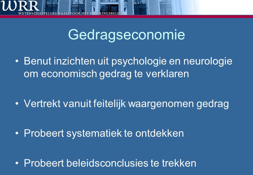 Gedragseconomie •Benut inzichten uit psychologie en neurologie om economisch gedrag te verklaren •Vertrekt vanuit feitelijk waargenomen gedrag •Probee