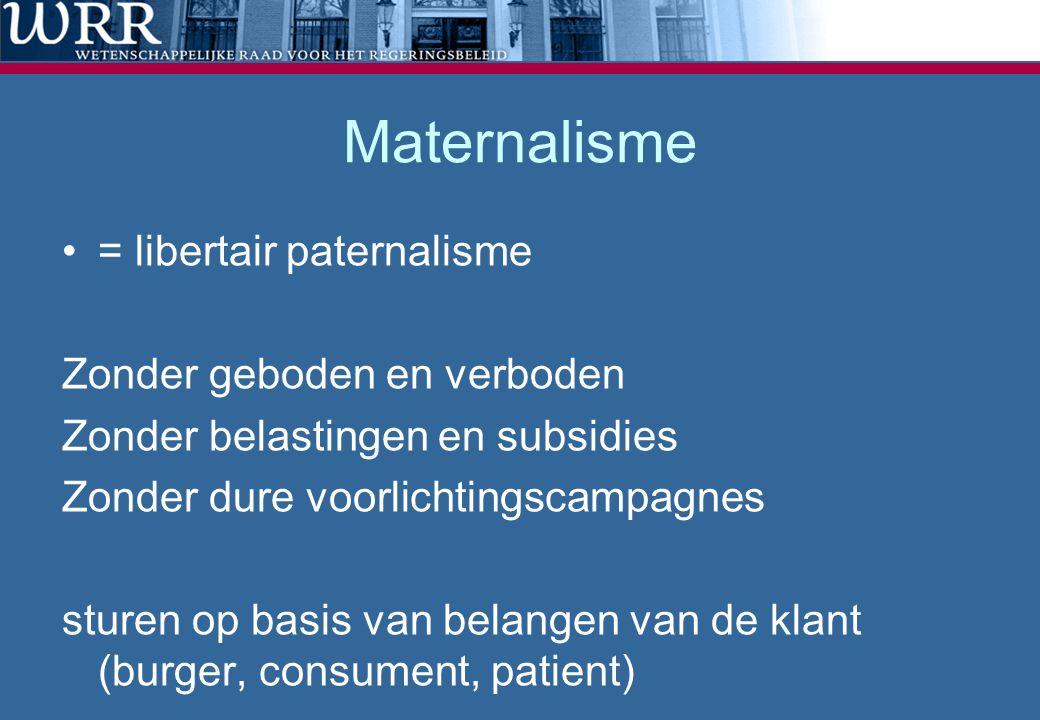 Maternalisme •= libertair paternalisme Zonder geboden en verboden Zonder belastingen en subsidies Zonder dure voorlichtingscampagnes sturen op basis v