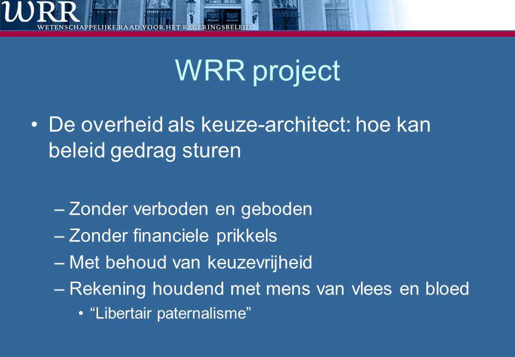 WRR project •De overheid als keuze-architect: hoe kan beleid gedrag sturen –Zonder verboden en geboden –Zonder financiele prikkels –Met behoud van keu