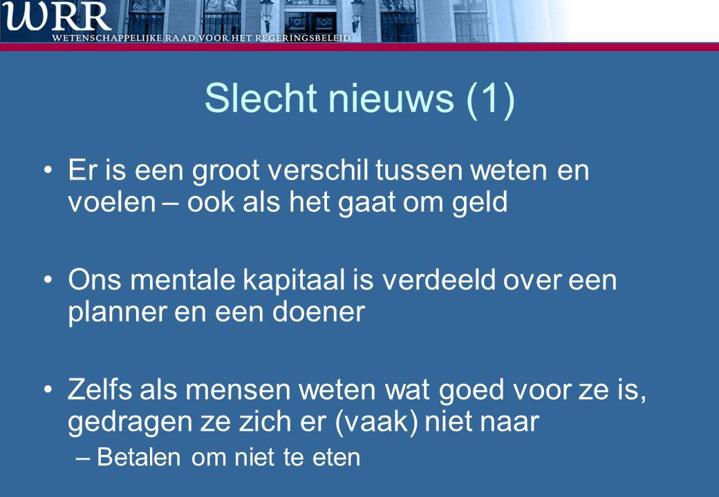 Slecht nieuws (1) •Er is een groot verschil tussen weten en voelen – ook als het gaat om geld •Ons mentale kapitaal is verdeeld over een planner en ee