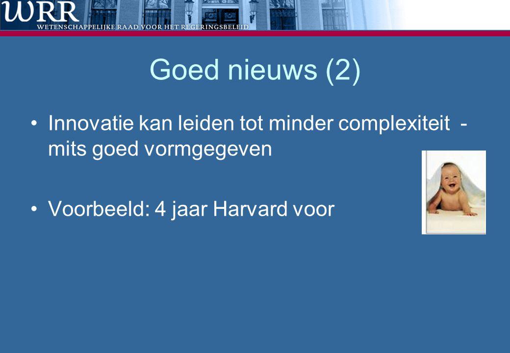 Goed nieuws (2) •Innovatie kan leiden tot minder complexiteit - mits goed vormgegeven •Voorbeeld: 4 jaar Harvard voor