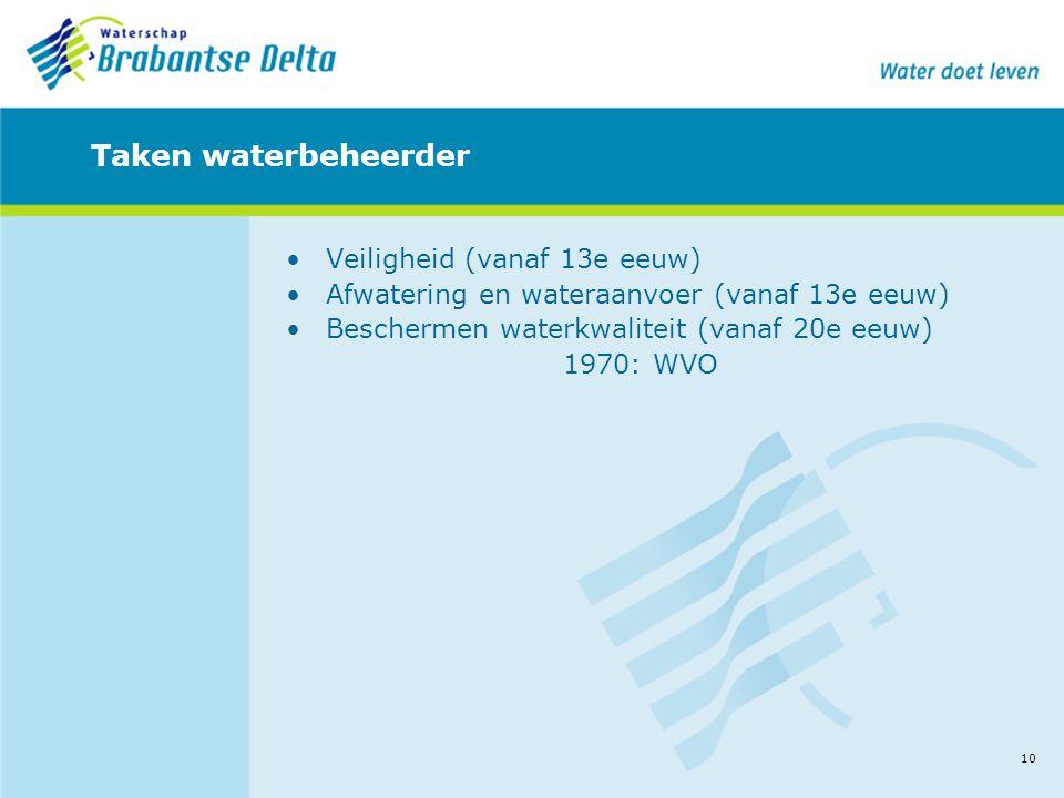 10 Taken waterbeheerder •Veiligheid (vanaf 13e eeuw) •Afwatering en wateraanvoer (vanaf 13e eeuw) •Beschermen waterkwaliteit (vanaf 20e eeuw) 1970: WV
