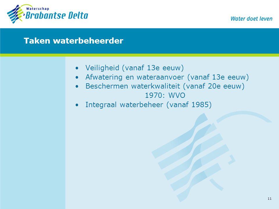 11 Taken waterbeheerder •Veiligheid (vanaf 13e eeuw) •Afwatering en wateraanvoer (vanaf 13e eeuw) •Beschermen waterkwaliteit (vanaf 20e eeuw) 1970: WV