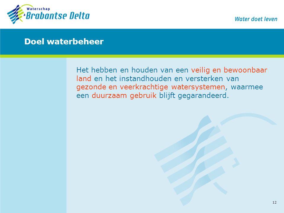 12 Doel waterbeheer Het hebben en houden van een veilig en bewoonbaar land en het instandhouden en versterken van gezonde en veerkrachtige watersystem
