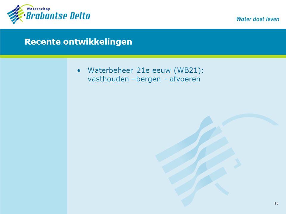 13 Recente ontwikkelingen •Waterbeheer 21e eeuw (WB21): vasthouden –bergen - afvoeren