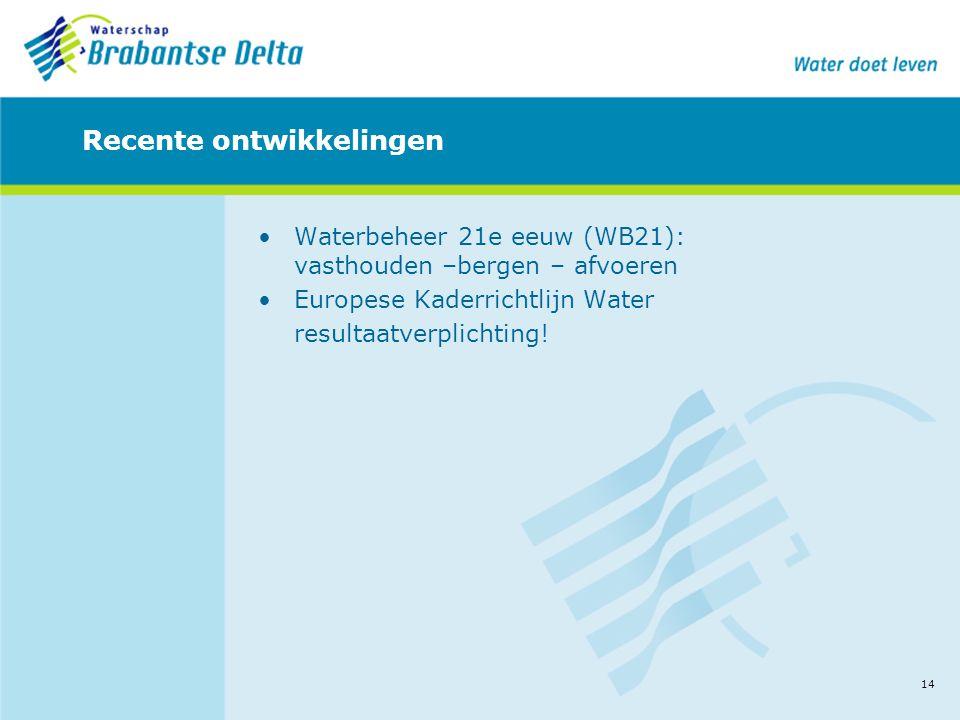 14 Recente ontwikkelingen •Waterbeheer 21e eeuw (WB21): vasthouden –bergen – afvoeren •Europese Kaderrichtlijn Water resultaatverplichting!