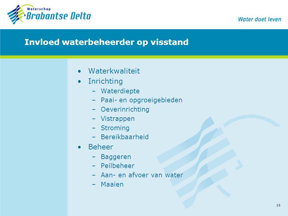 16 Invloed waterbeheerder op visstand •Waterkwaliteit •Inrichting –Waterdiepte –Paai- en opgroeigebieden –Oeverinrichting –Vistrappen –Stroming –Bereikbaarheid •Beheer –Baggeren –Peilbeheer –Aan- en afvoer van water –Maaien