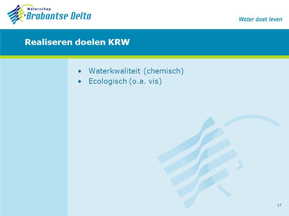 17 Realiseren doelen KRW •Waterkwaliteit (chemisch) •Ecologisch (o.a. vis)