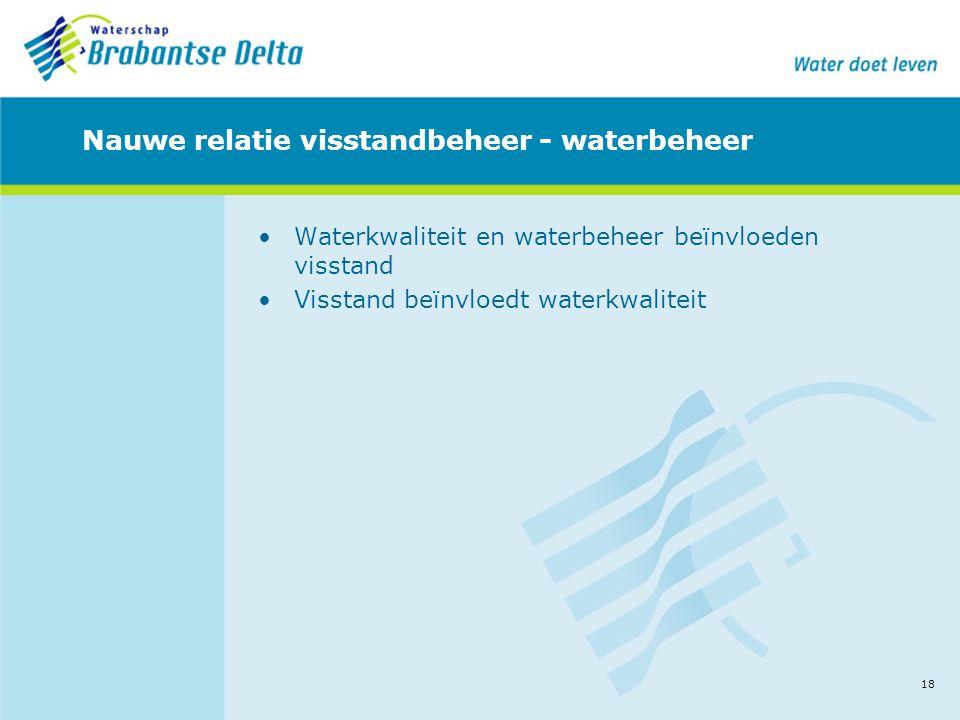 18 Nauwe relatie visstandbeheer - waterbeheer •Waterkwaliteit en waterbeheer beïnvloeden visstand •Visstand beïnvloedt waterkwaliteit