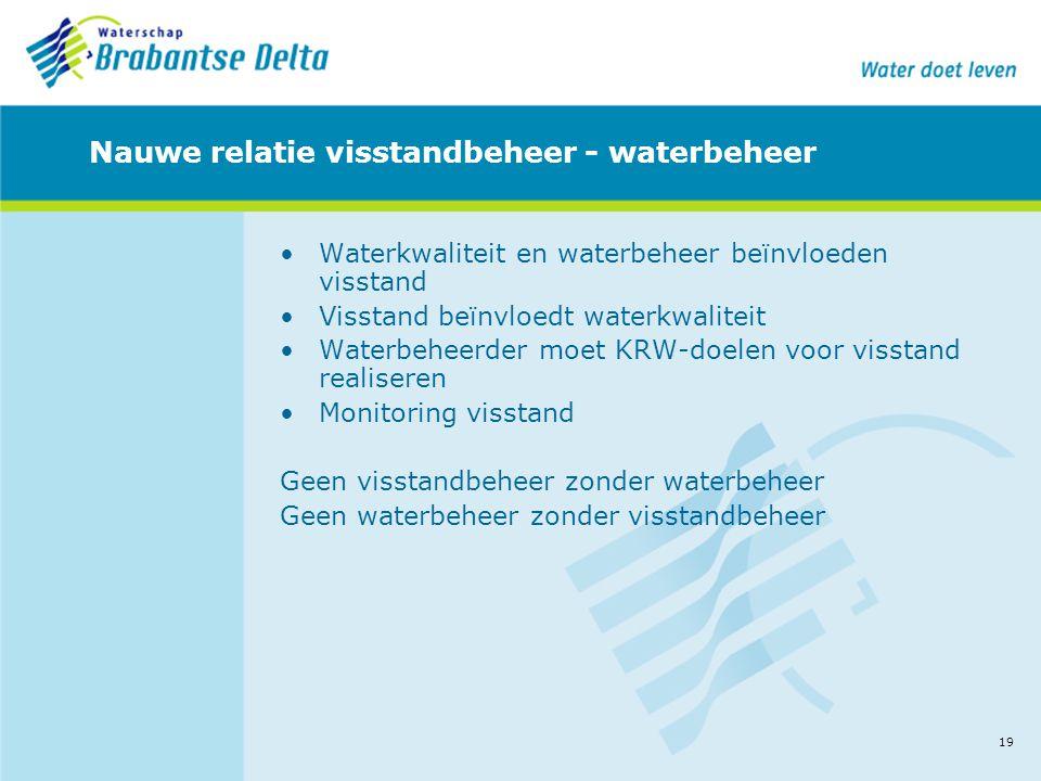19 Nauwe relatie visstandbeheer - waterbeheer •Waterkwaliteit en waterbeheer beïnvloeden visstand •Visstand beïnvloedt waterkwaliteit •Waterbeheerder
