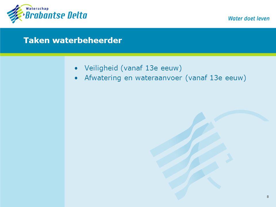 8 Taken waterbeheerder •Veiligheid (vanaf 13e eeuw) •Afwatering en wateraanvoer (vanaf 13e eeuw)