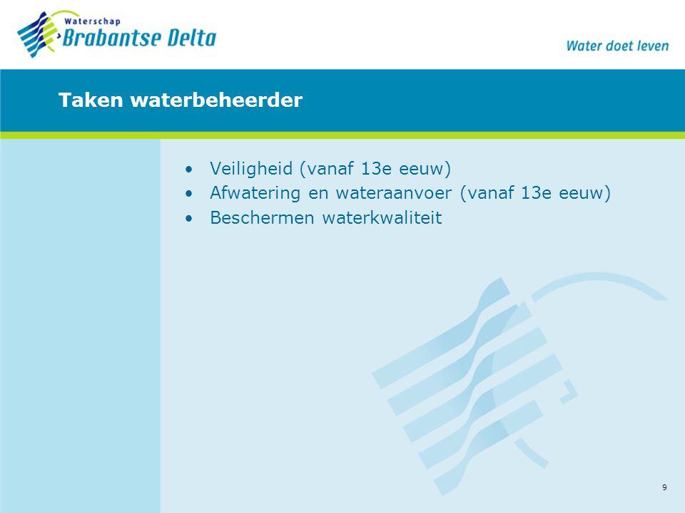 9 Taken waterbeheerder •Veiligheid (vanaf 13e eeuw) •Afwatering en wateraanvoer (vanaf 13e eeuw) •Beschermen waterkwaliteit
