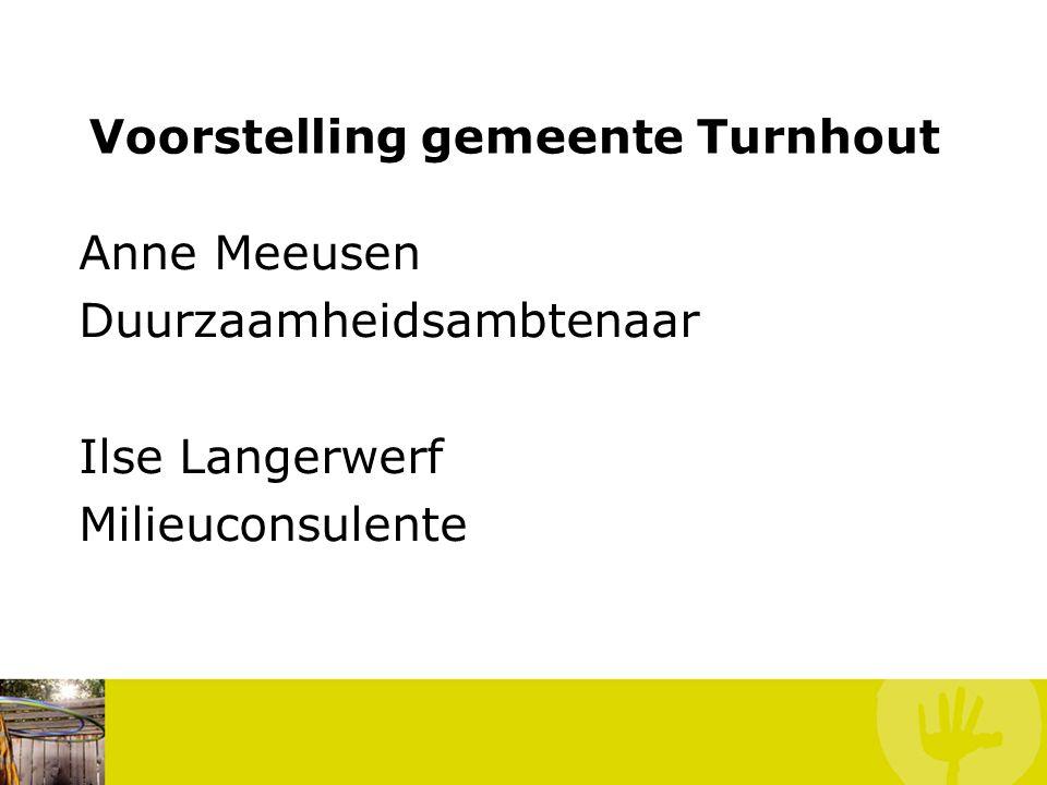 Voorstelling gemeente Turnhout Anne Meeusen Duurzaamheidsambtenaar Ilse Langerwerf Milieuconsulente