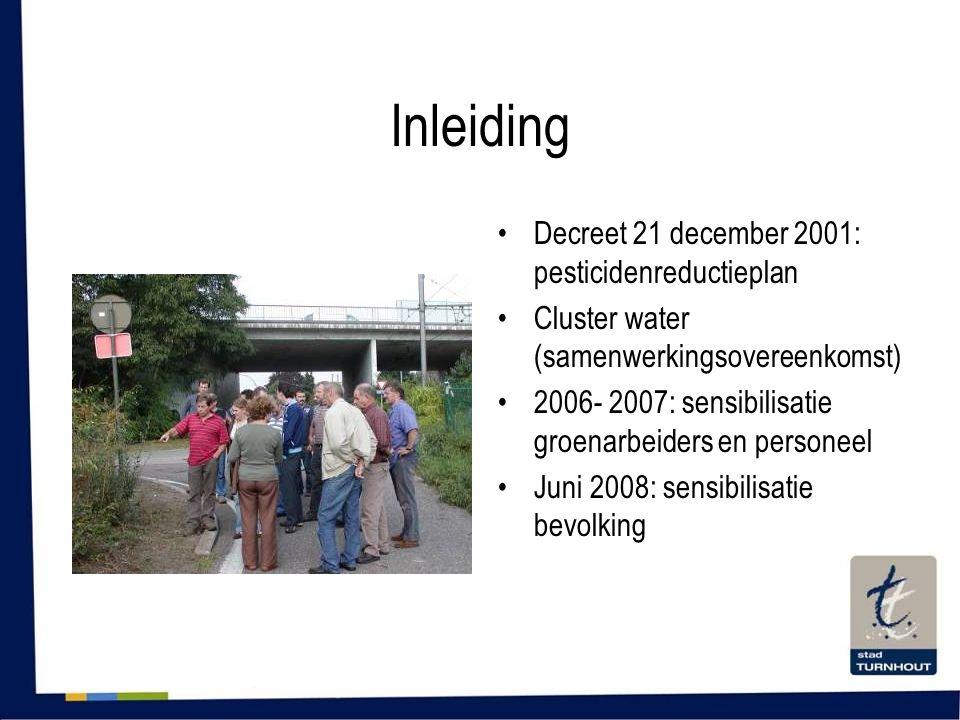 Inleiding •Decreet 21 december 2001: pesticidenreductieplan •Cluster water (samenwerkingsovereenkomst) •2006- 2007: sensibilisatie groenarbeiders en personeel •Juni 2008: sensibilisatie bevolking