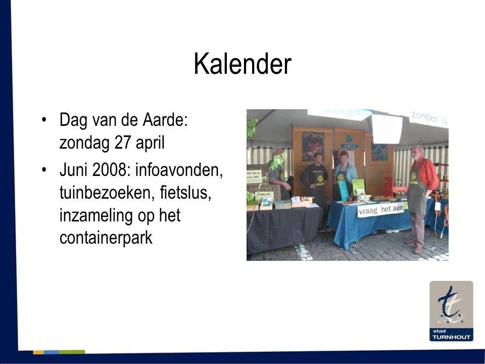 Kalender •Dag van de Aarde: zondag 27 april •Juni 2008: infoavonden, tuinbezoeken, fietslus, inzameling op het containerpark