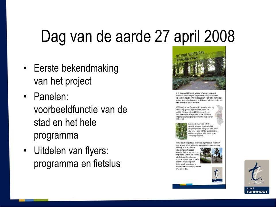 Dag van de aarde 27 april 2008 •Eerste bekendmaking van het project •Panelen: voorbeeldfunctie van de stad en het hele programma •Uitdelen van flyers: