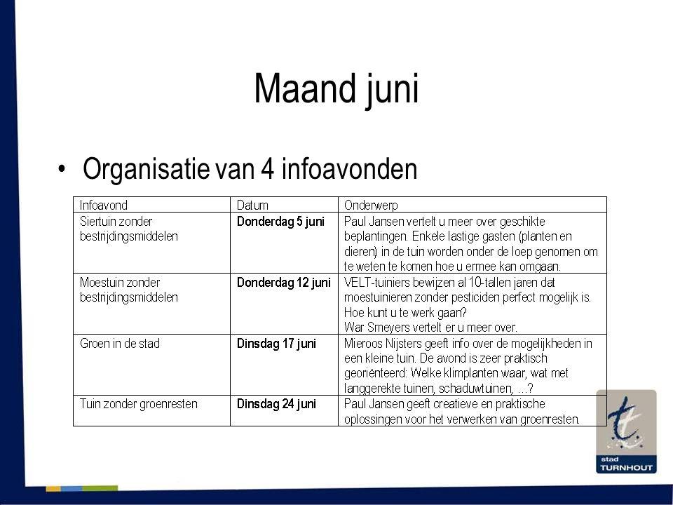 Maand juni •Organisatie van 4 infoavonden