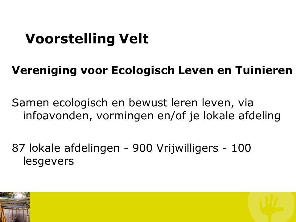 Voorstelling Velt Vereniging voor Ecologisch Leven en Tuinieren Samen ecologisch en bewust leren leven, via infoavonden, vormingen en/of je lokale afd