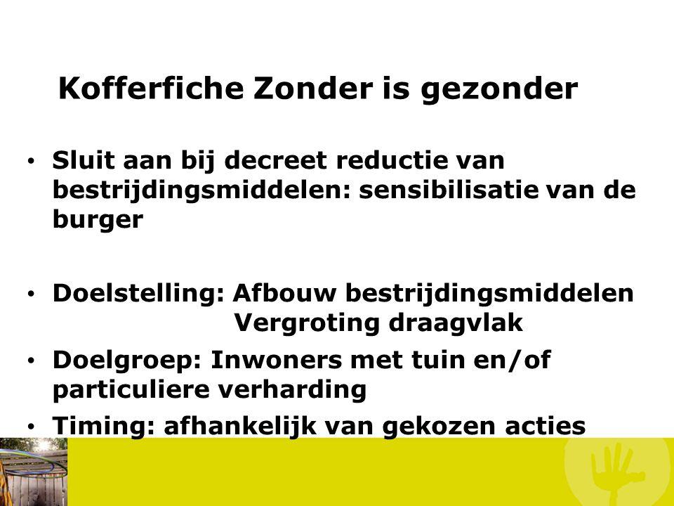 Kofferfiche Zonder is gezonder • Sluit aan bij decreet reductie van bestrijdingsmiddelen: sensibilisatie van de burger • Doelstelling: Afbouw bestrijd