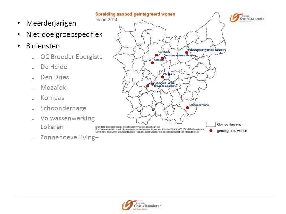 • Meerderjarigen • Niet doelgroepspecifiek • 8 diensten ₋OC Broeder Ebergiste ₋De Heide ₋Den Dries ₋Mozaïek ₋Kompas ₋Schoonderhage ₋Volwassenwerking Lokeren ₋Zonnehoeve Living+
