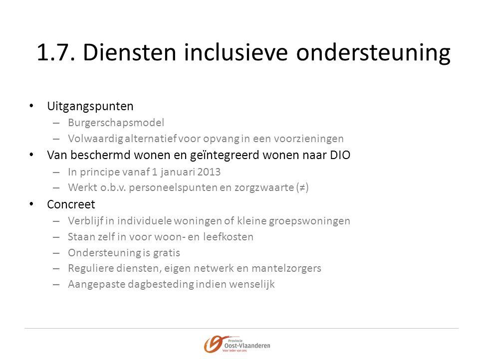 1.7. Diensten inclusieve ondersteuning • Uitgangspunten – Burgerschapsmodel – Volwaardig alternatief voor opvang in een voorzieningen • Van beschermd