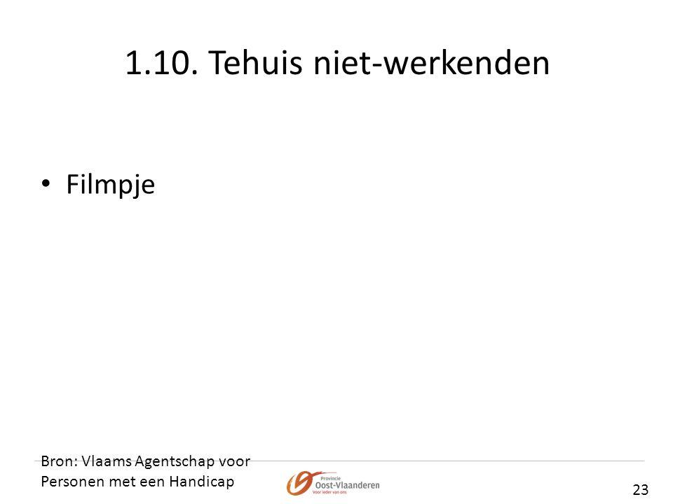 1.10. Tehuis niet-werkenden Bron: Vlaams Agentschap voor Personen met een Handicap 23 • Filmpje