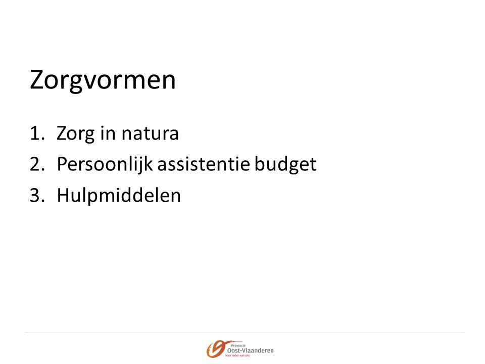 Zorgvormen 1.Zorg in natura 2.Persoonlijk assistentie budget 3.Hulpmiddelen