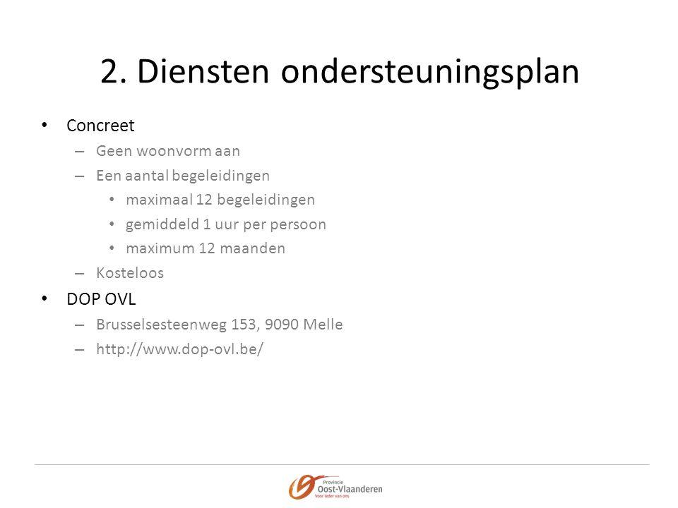 2. Diensten ondersteuningsplan • Concreet – Geen woonvorm aan – Een aantal begeleidingen • maximaal 12 begeleidingen • gemiddeld 1 uur per persoon • m