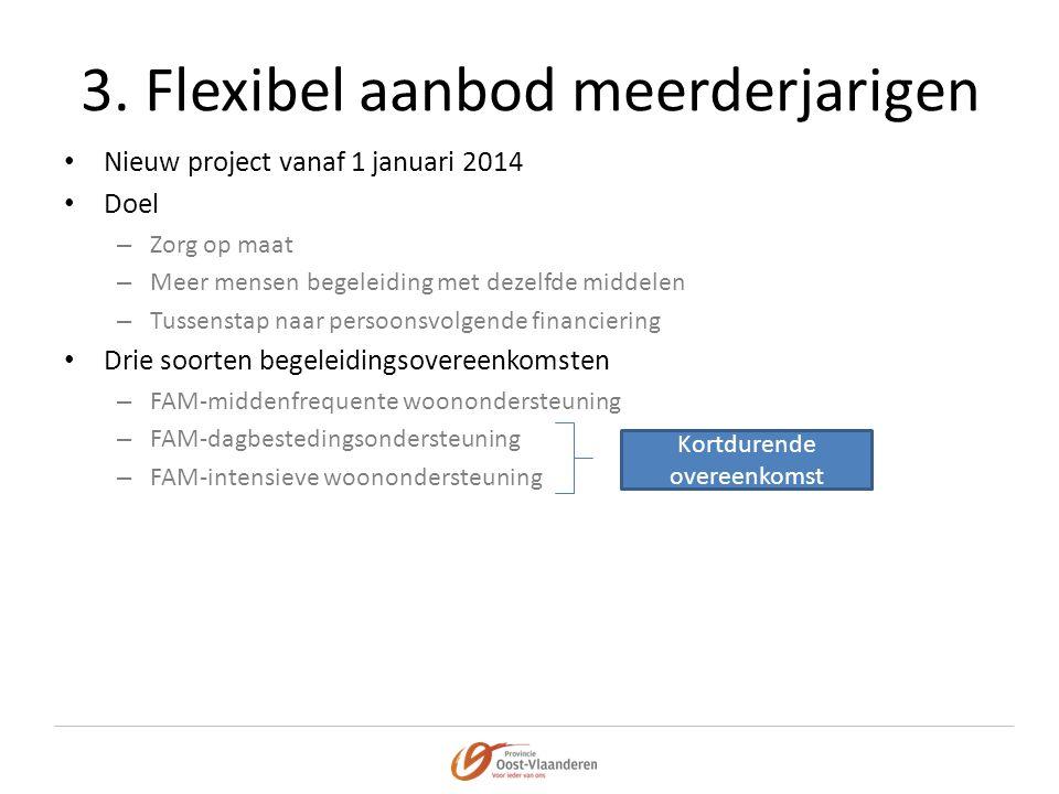 3. Flexibel aanbod meerderjarigen • Nieuw project vanaf 1 januari 2014 • Doel – Zorg op maat – Meer mensen begeleiding met dezelfde middelen – Tussens