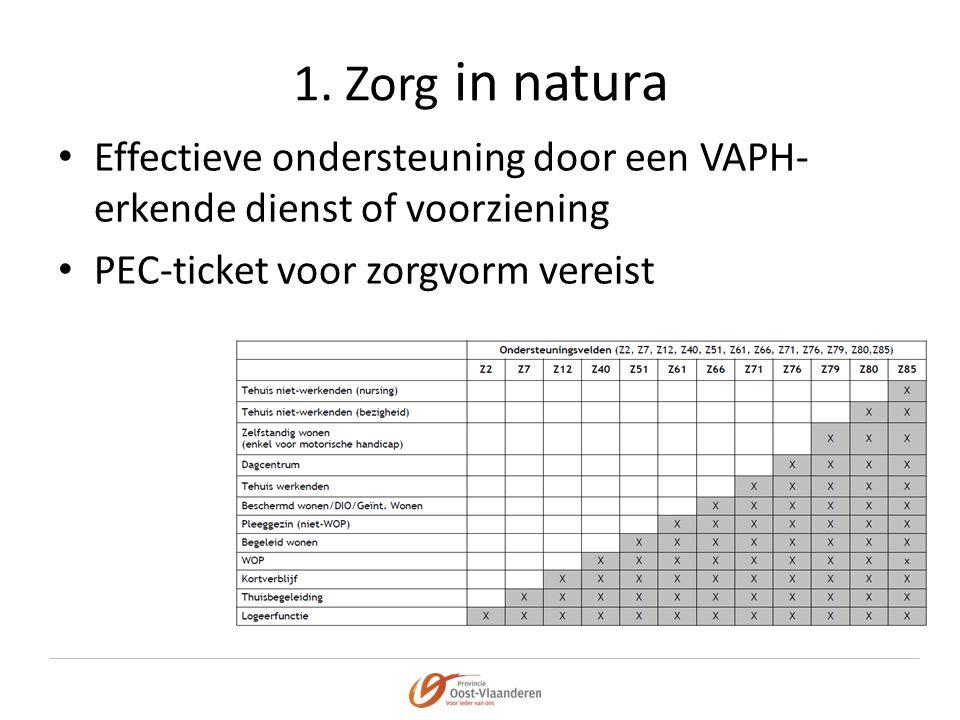 1. Zorg in natura • Effectieve ondersteuning door een VAPH- erkende dienst of voorziening • PEC-ticket voor zorgvorm vereist
