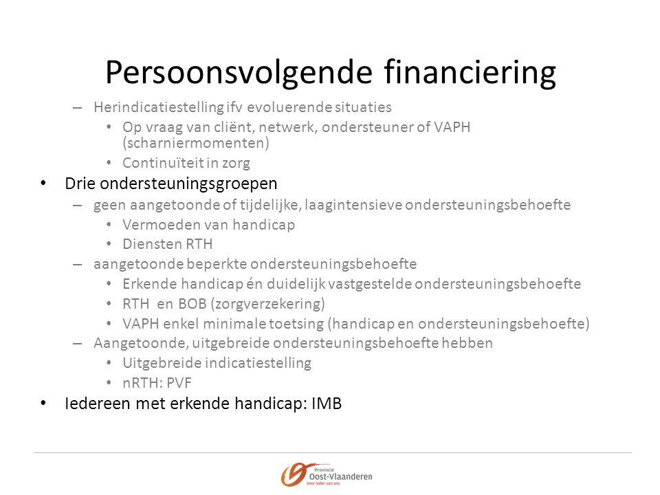 Persoonsvolgende financiering – Herindicatiestelling ifv evoluerende situaties • Op vraag van cliënt, netwerk, ondersteuner of VAPH (scharniermomenten