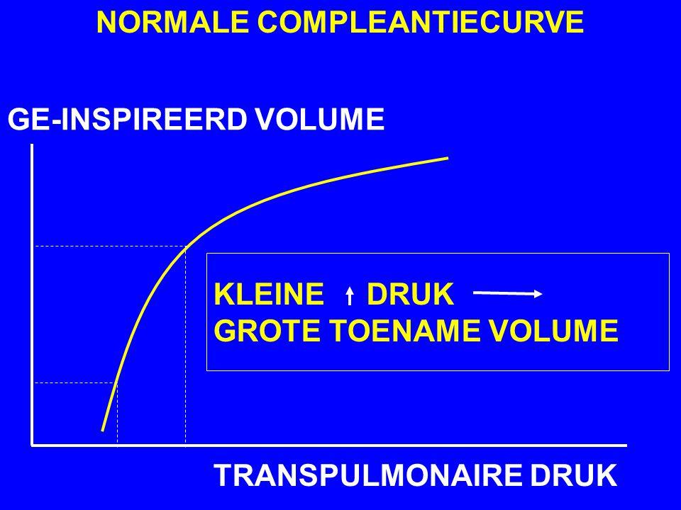 GE-INSPIREERD VOLUME TRANSPULMONAIRE DRUK NORMALE COMPLEANTIECURVE KLEINE DRUK GROTE TOENAME VOLUME