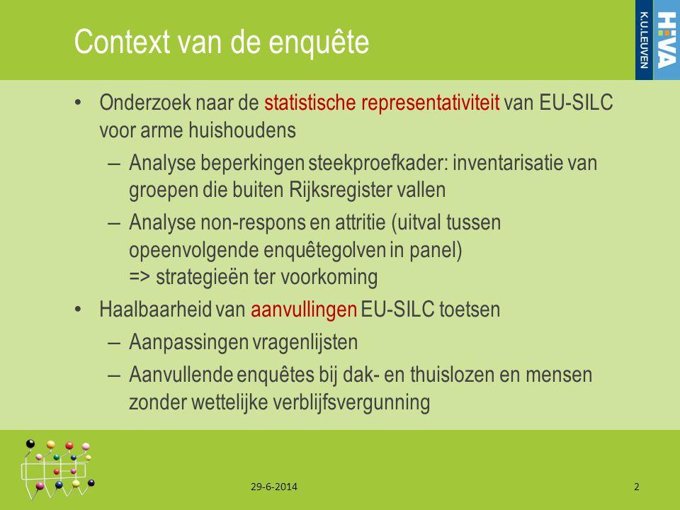 Context van de enquête • Onderzoek naar de statistische representativiteit van EU-SILC voor arme huishoudens – Analyse beperkingen steekproefkader: in