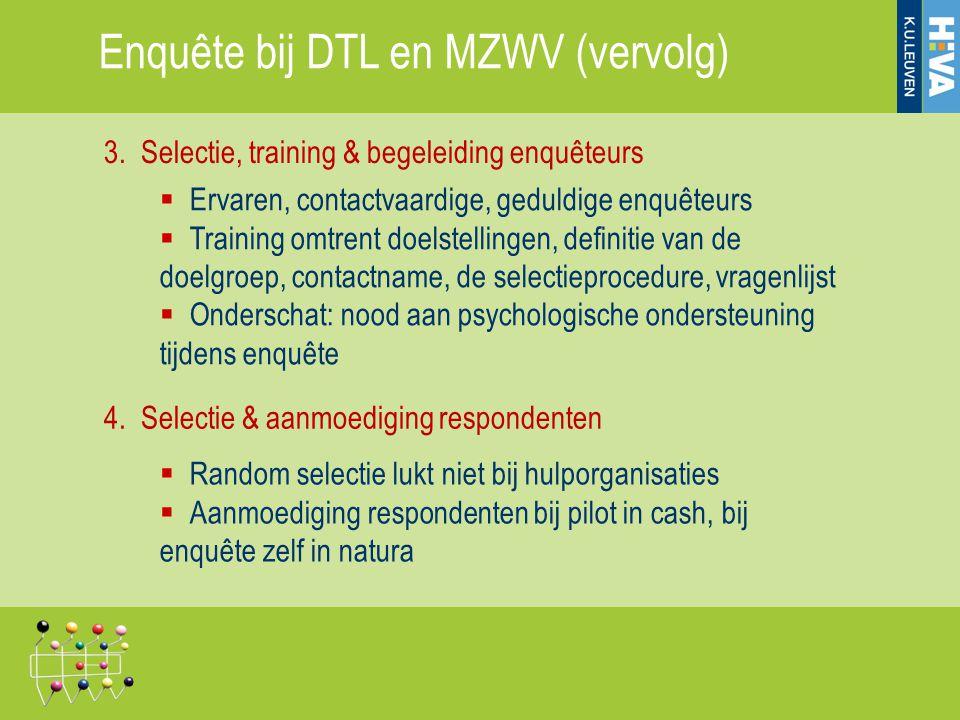 3. Selectie, training & begeleiding enquêteurs  Ervaren, contactvaardige, geduldige enquêteurs  Training omtrent doelstellingen, definitie van de do