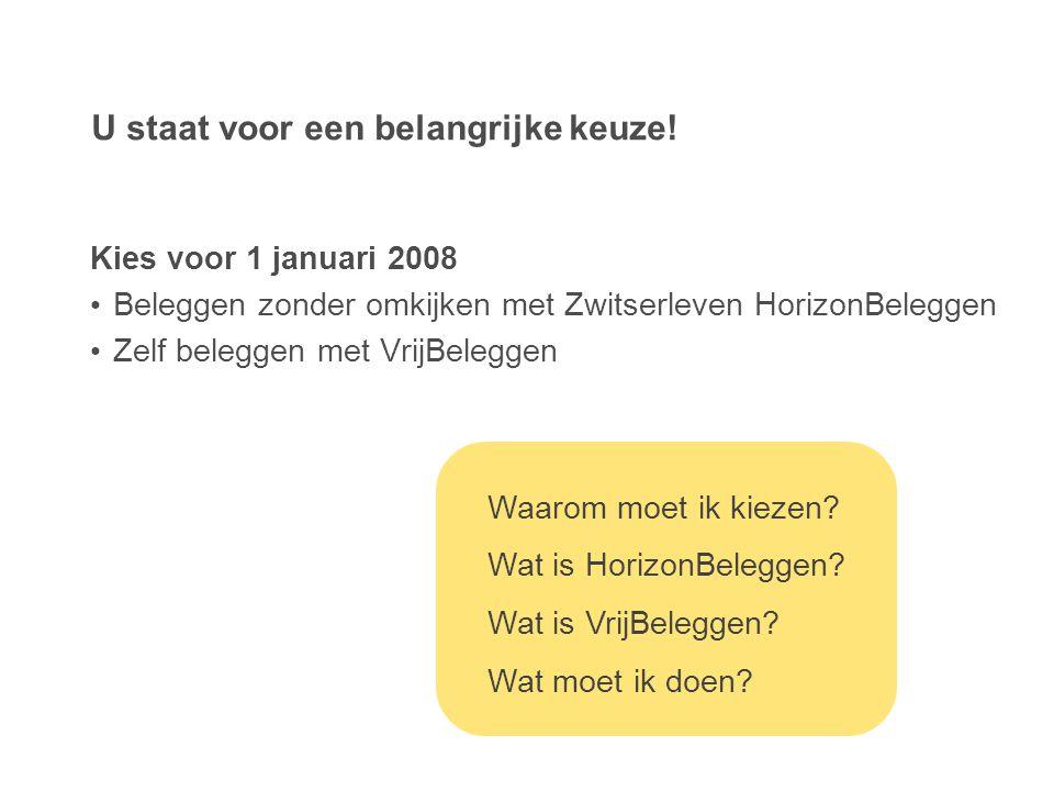 U staat voor een belangrijke keuze! Kies voor 1 januari 2008 • Beleggen zonder omkijken met Zwitserleven HorizonBeleggen • Zelf beleggen met VrijBeleg